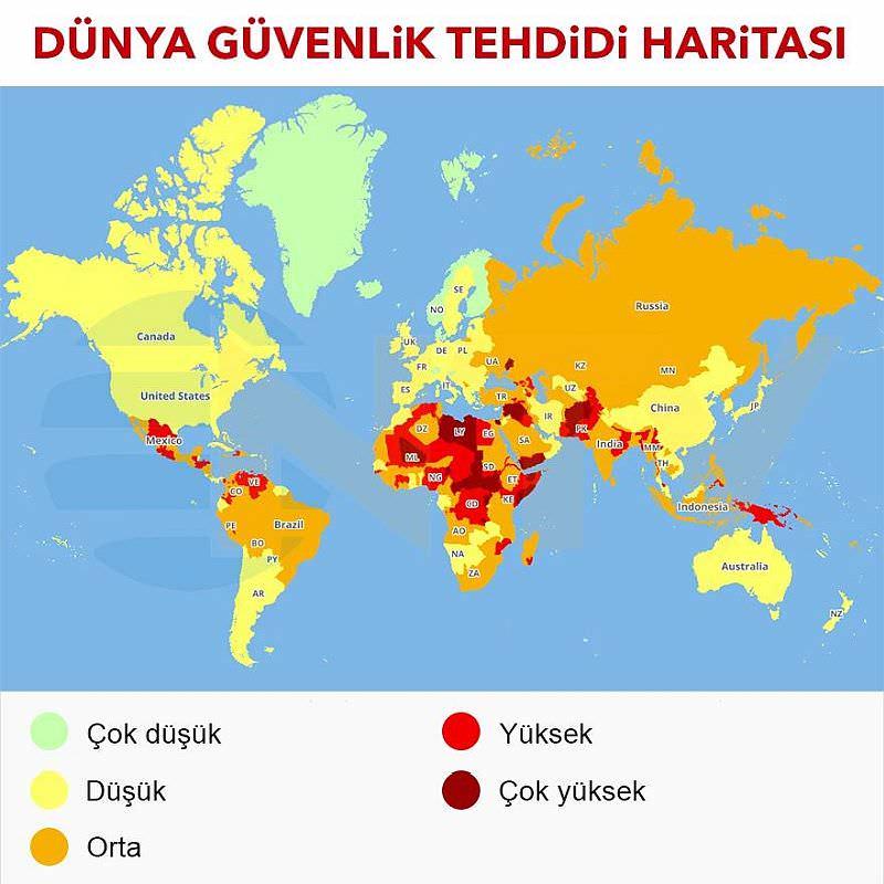 2019 Dunya Seyahat Risk Haritasi Iste Turkiye Ve Ukrayna Nin Yeri