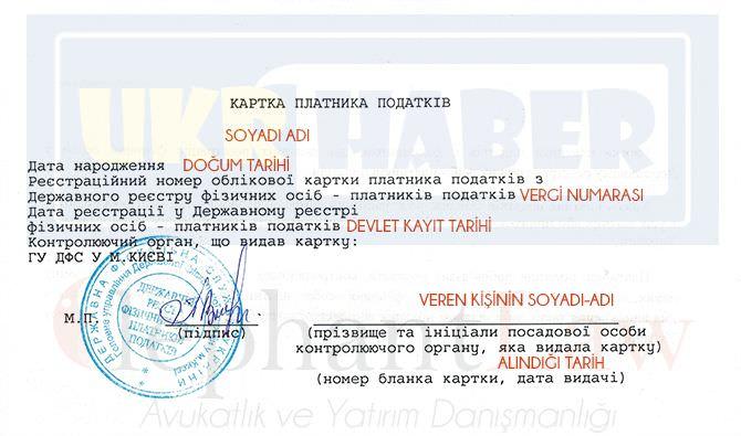 Ukrayna Vergi Numarası Belgesi Örneği