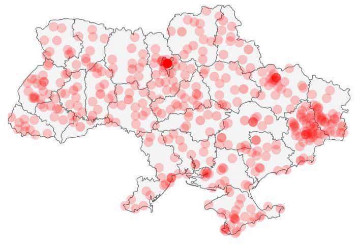 ukrayna şehir nüfusları haritası